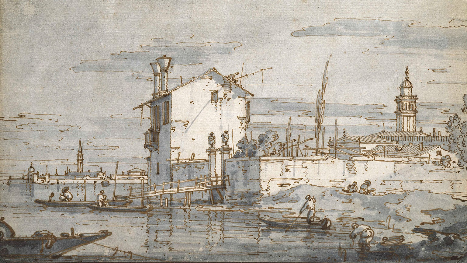 2. Titian to Canaletto: Drawing in Venice, Ashmolean Museum, 50% off with National Art Pass - Giovanni Antonio Canal, known as Canaletto, An Island in the Lagoon. © Ashmolean Museum, University of Oxford