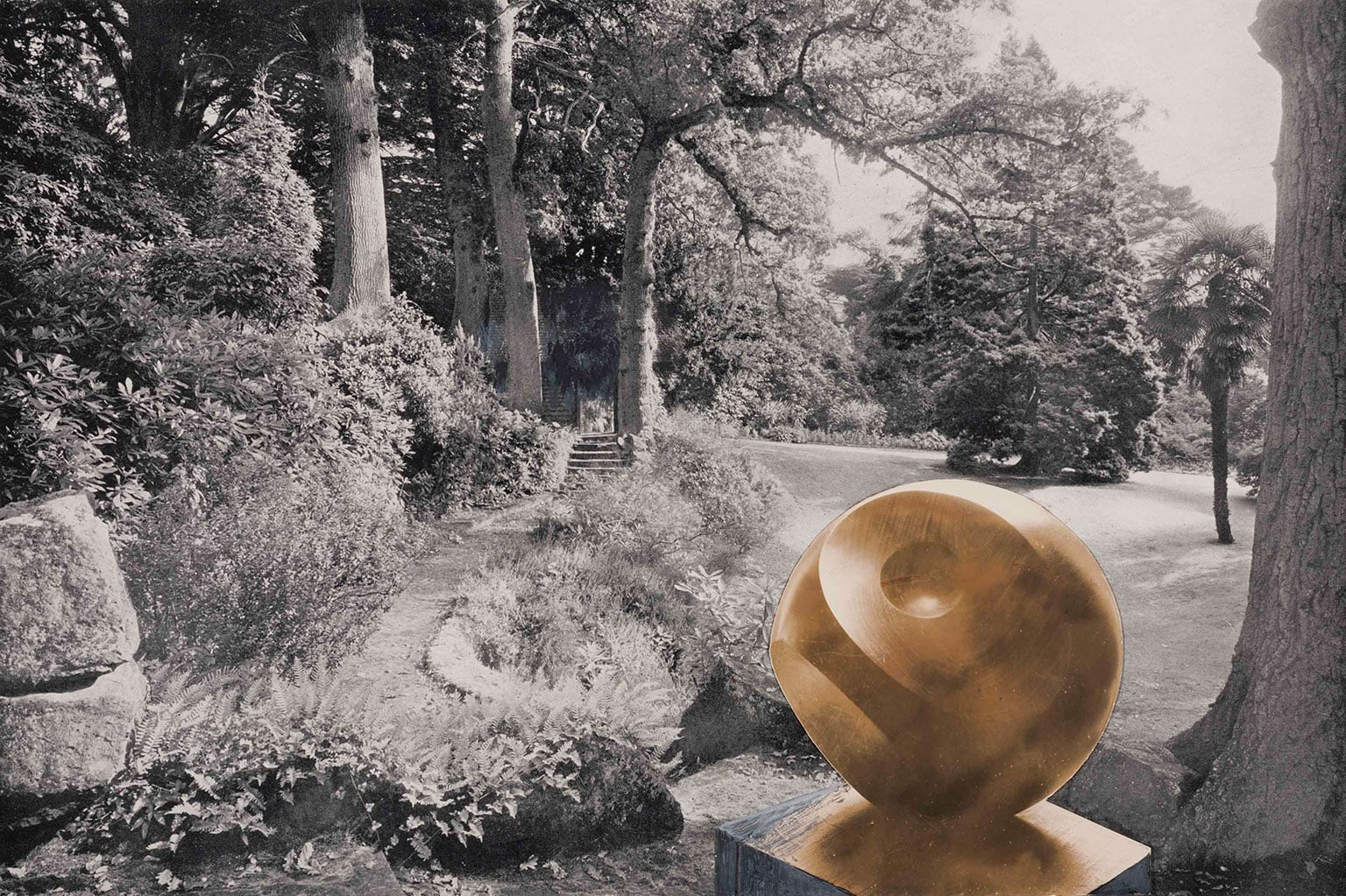 1. Barbara Hepworth: Sculpture for a Modern World, Tate Britain, 50% off with National Art Pass - Photo-collage with Helicoids in Sphere in the garden of Redleaf, Penshurst 1939 © The Hepworth Photograph Collection