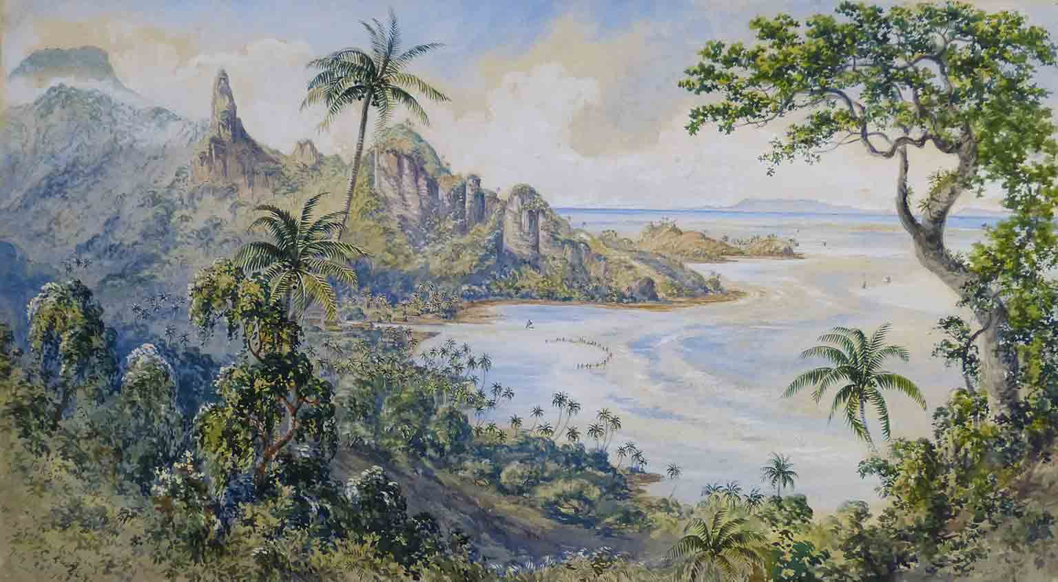 Fiji: Art and Life in the Pacific, Sainsbury Centre for Visual Arts, autumn 2016 - Constance Gordon Cumming, View Of Tokou, Ovalau, 1870s. Courtesy MAA, Cambridge