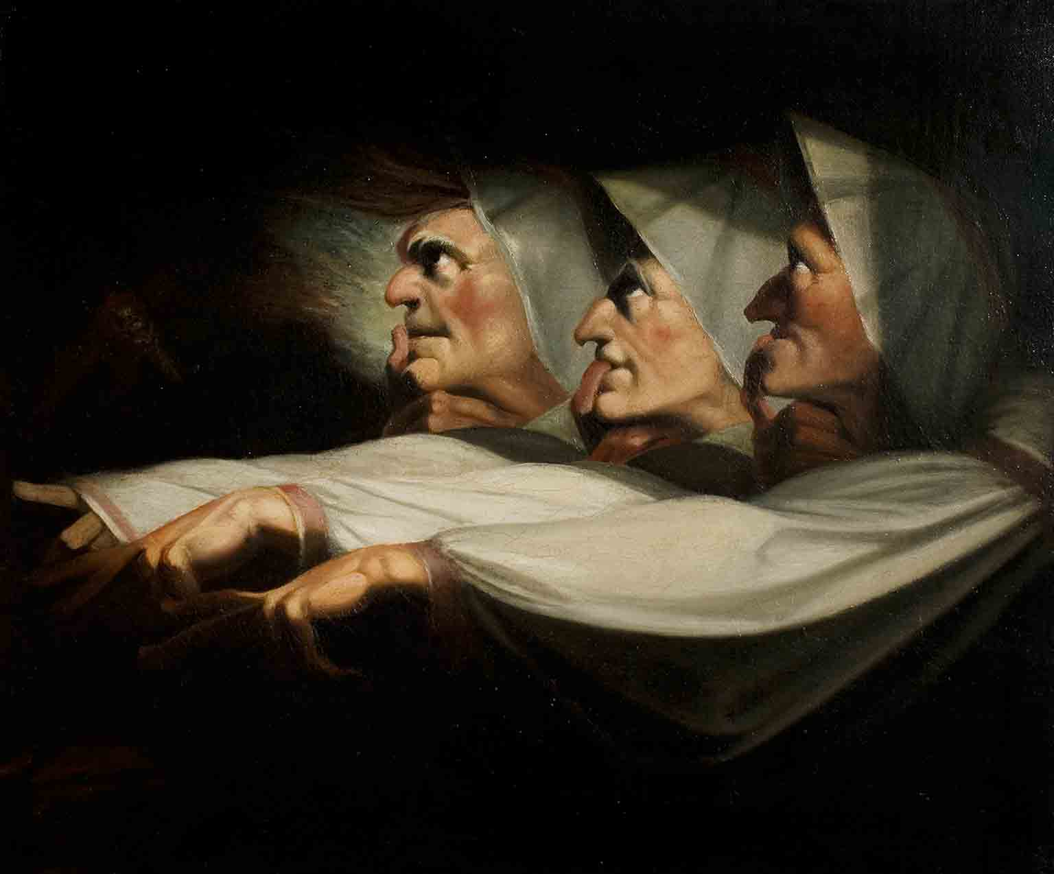 Shakespeare in Art: Tempests, Tyrants and Tragedy, Compton Verney, 19 March – 19 June - Henry Fuseli, Macbeth, Act I, Scene 3, the Weird Sisters © Royal Shakespeare Company Collection