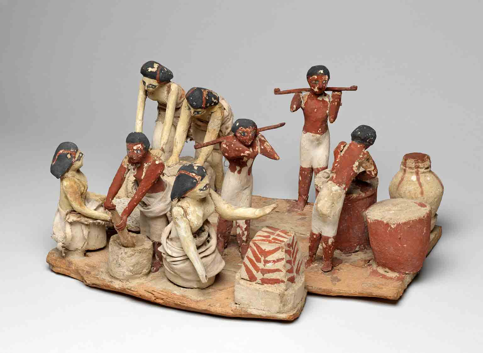 Wooden model of a brewing and baking workshop. Find Spot: Tomb of Khety, Beni Hasan; tomb 366. Twelfth Dynasty; Middle Kingdom. Egyptian