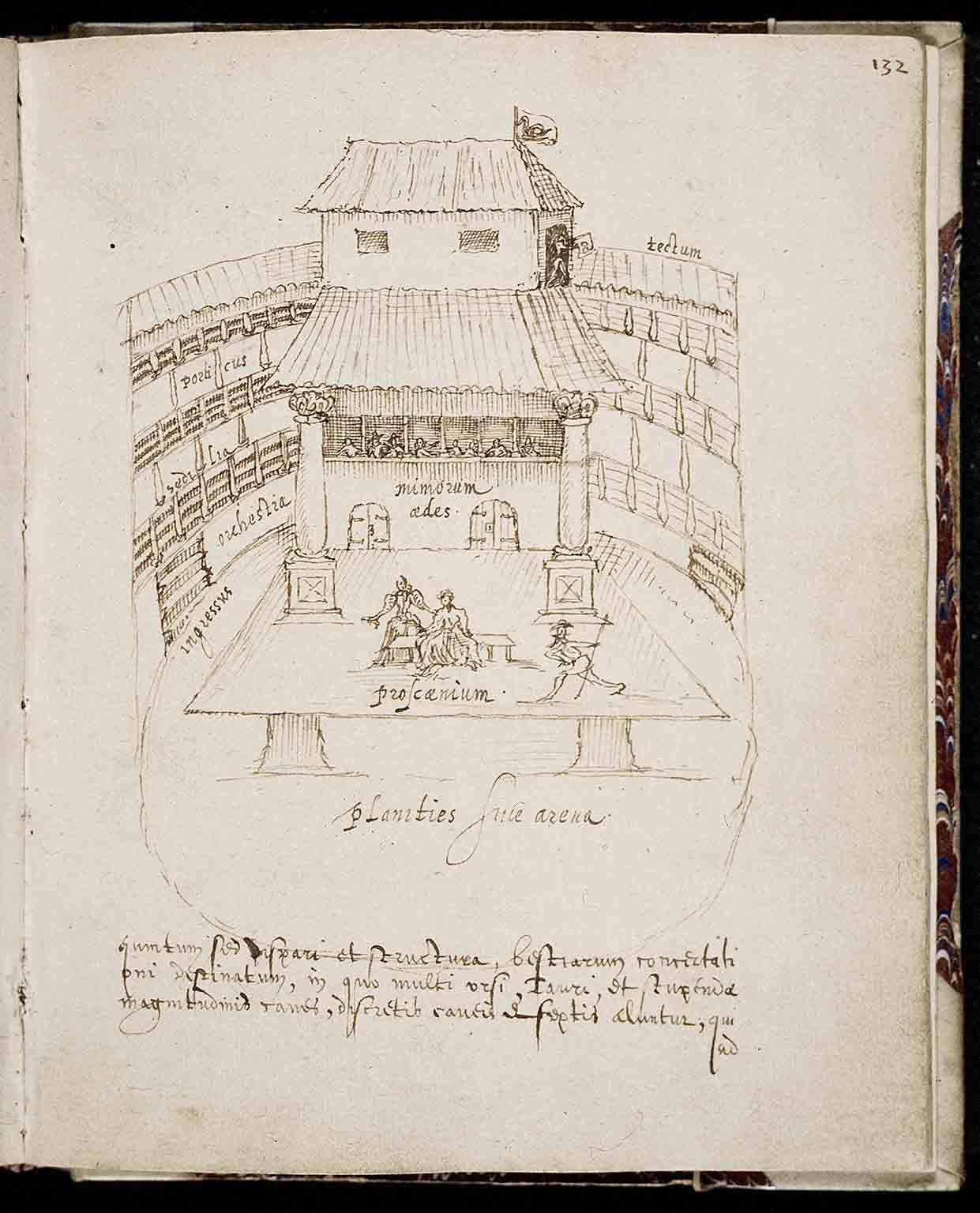3. Shakespeare in Ten Acts, British Library, 50% off with National Art Pass - Aernout van Buchel, Swan Theatre, c.1596. Courtesy Utrecht University Library