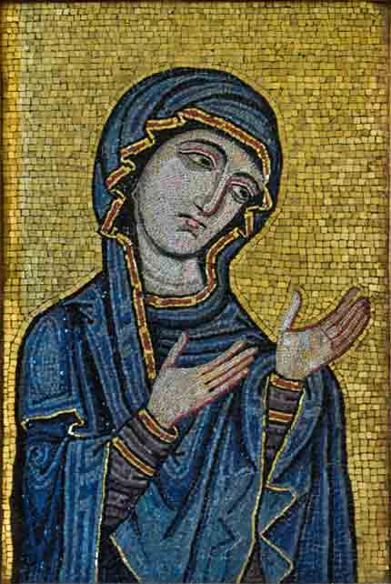 Byzantine-style mosaic showing the Virgin as Advocate for the Human Race,  c.1130-1180 AD