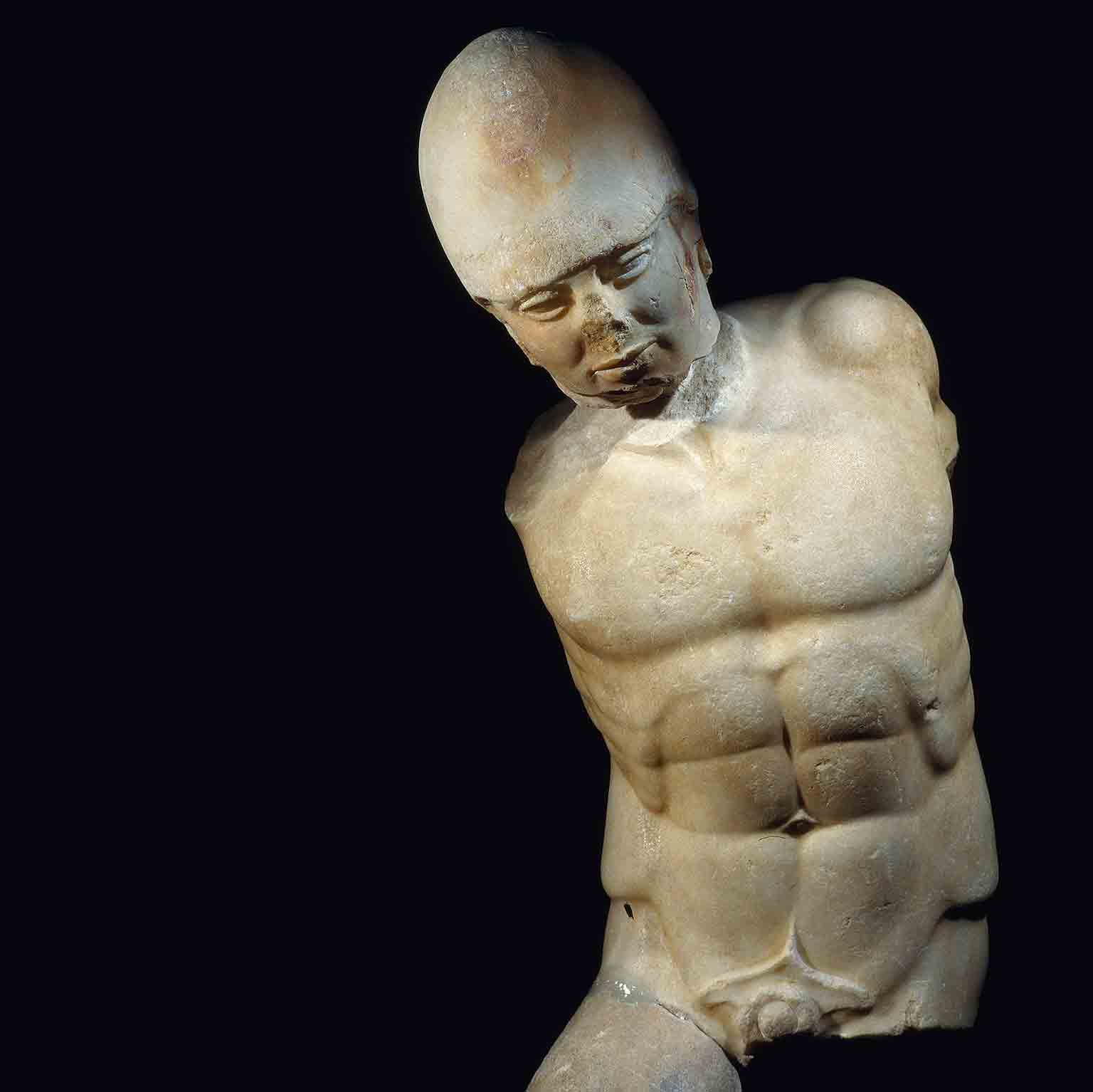 Marble statue of warrior, Akragas, c.470 BC