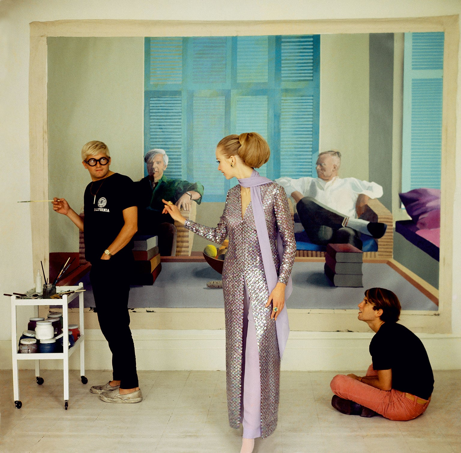 2. Vogue 100: A Century of Style, National Portrait Gallery 50% off with a National Art Pass - Cecil Beaton, David Hockney, Peter Schlesinger and Maudie James, 1968. © The Condé Nast Publications Ltd