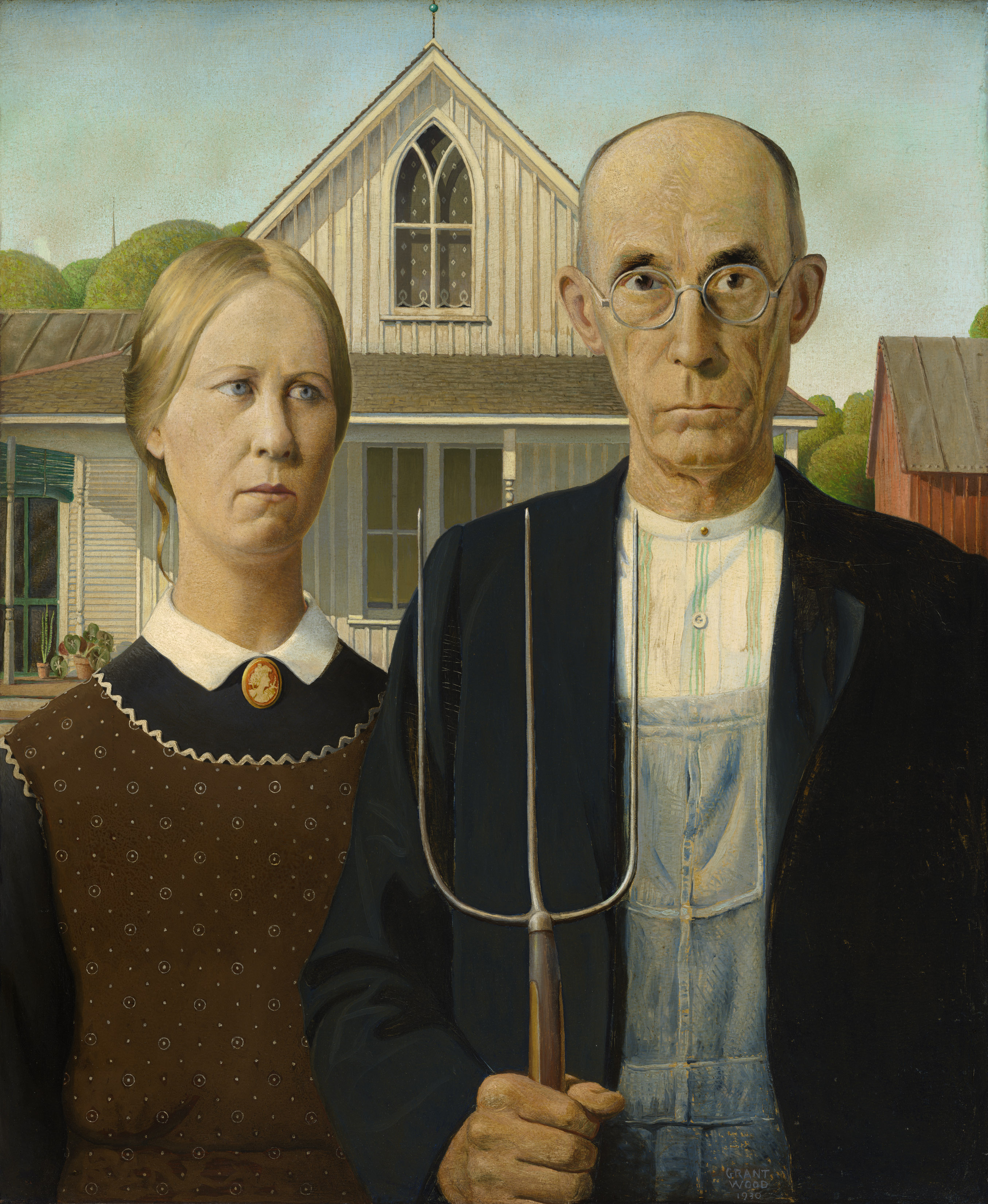 Grant Wood, American Gothic, 1930 at Royal Academy's America after the Fall - The Art Institute of Chicago