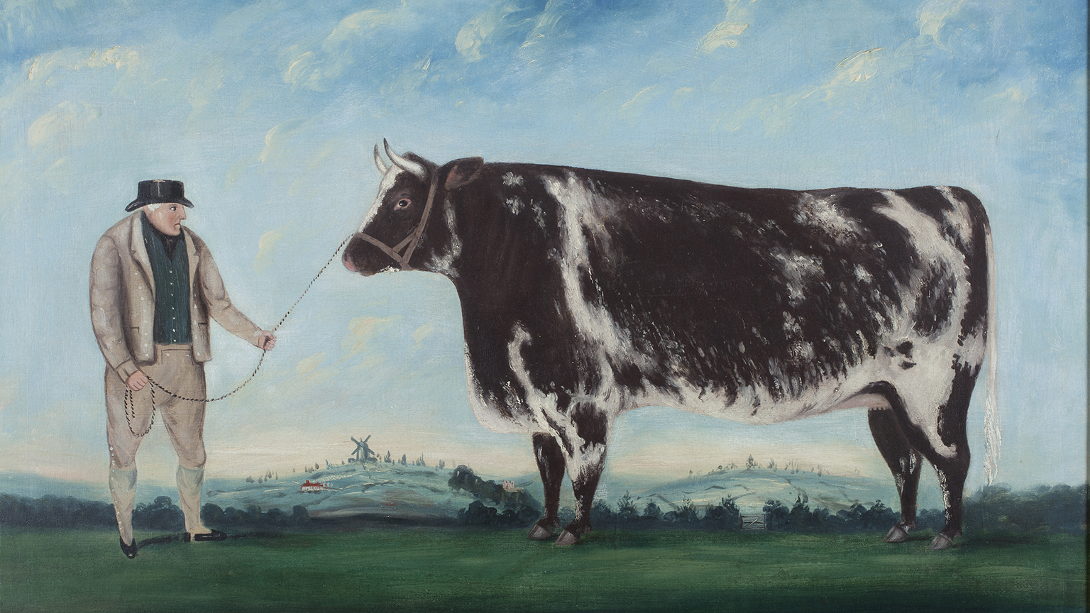 Artist unknown, A Farmer and his Prize Heifer, c1844
