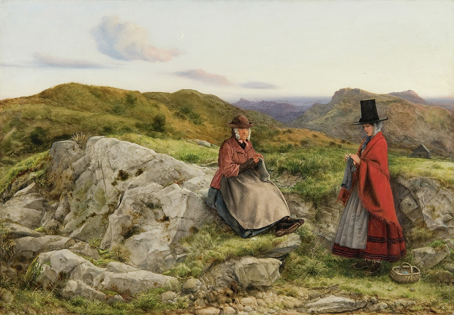 William Dyce, Welsh Landscape with Two Women Knitting (1860) Oil on board