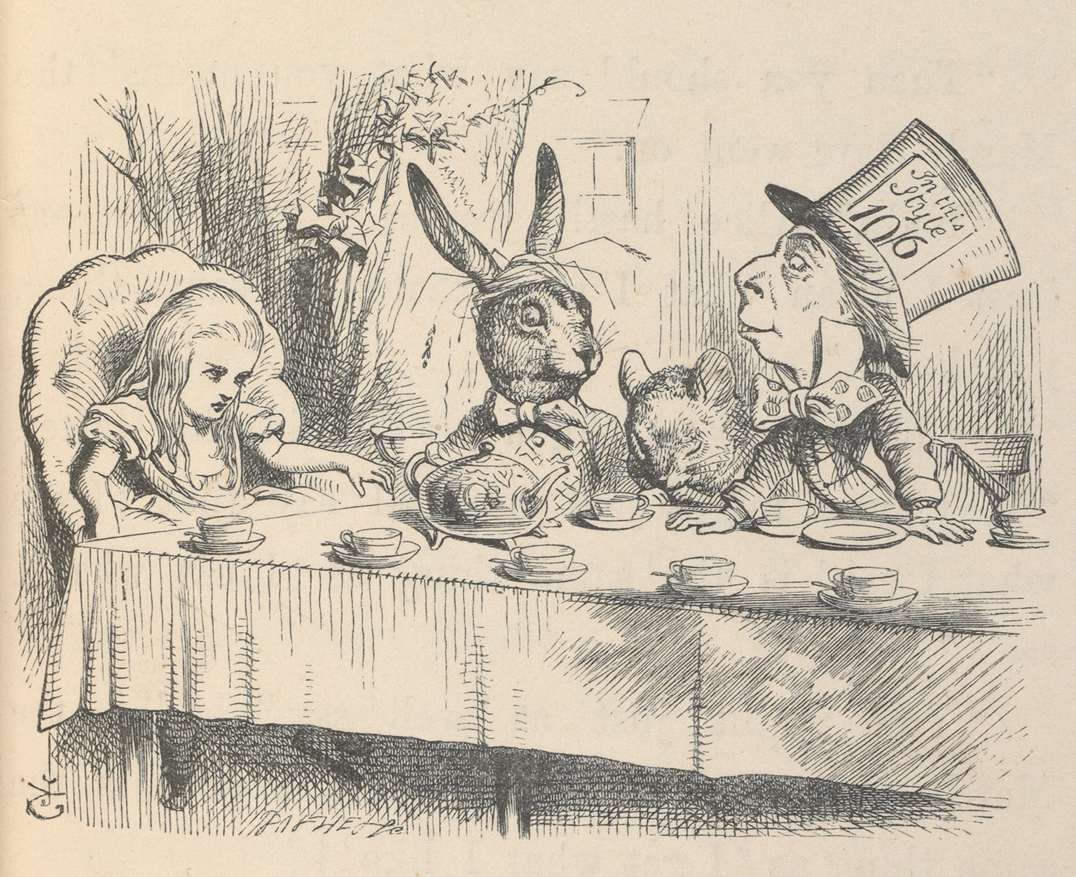 John Tennial, Alice at the Mad Hatter's Tea Party, illustration for Alice's Adventures in Wonderland, 1865