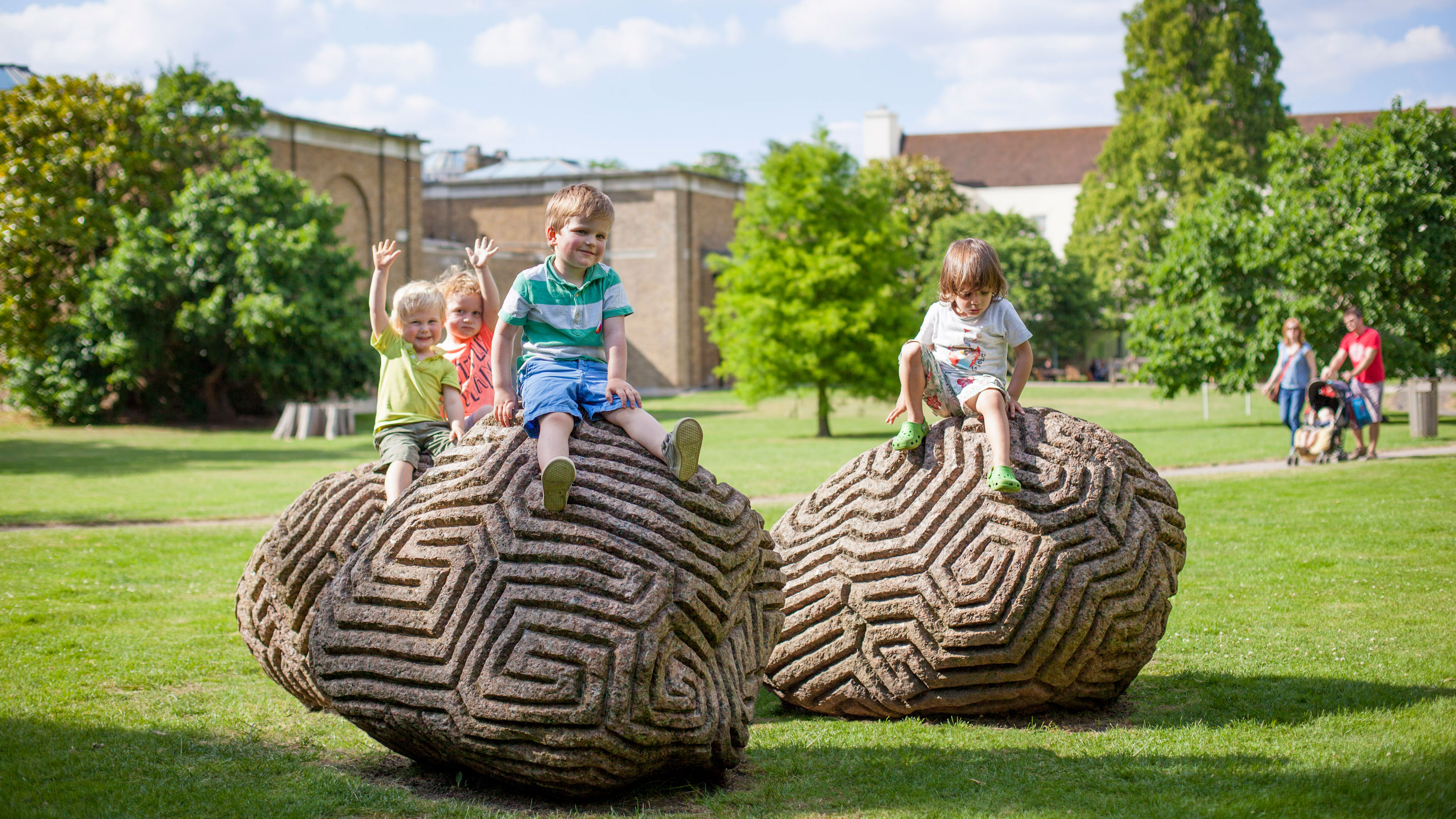 Walking the Dog, contemporary sculpture by Peter Randall Page in the Gallery grounds