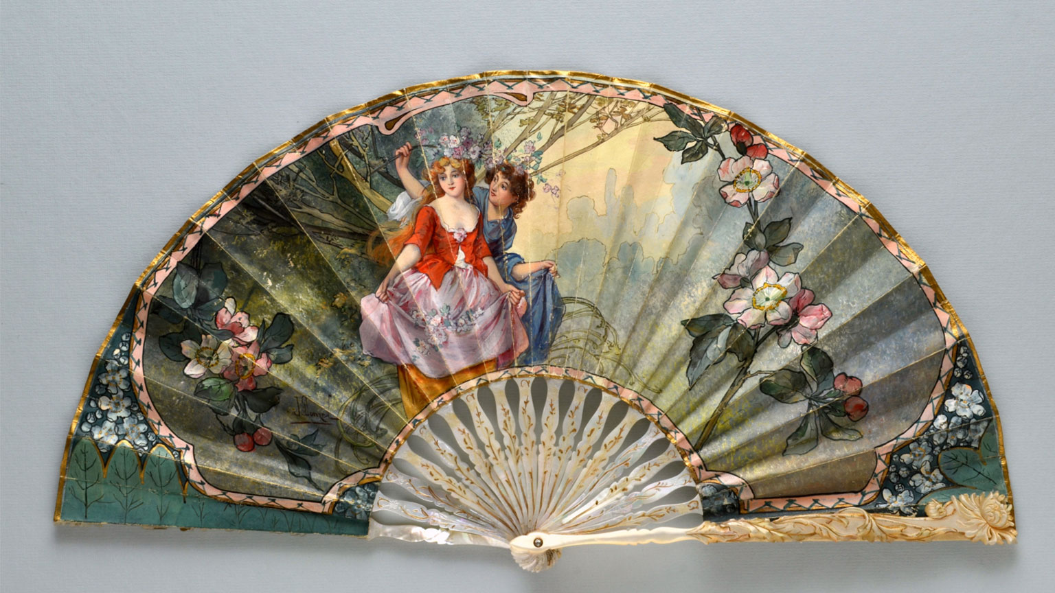 Mother of Pearl Fan, J. Donzel, French, c1905 The Fan Museum, HA Collection 1681