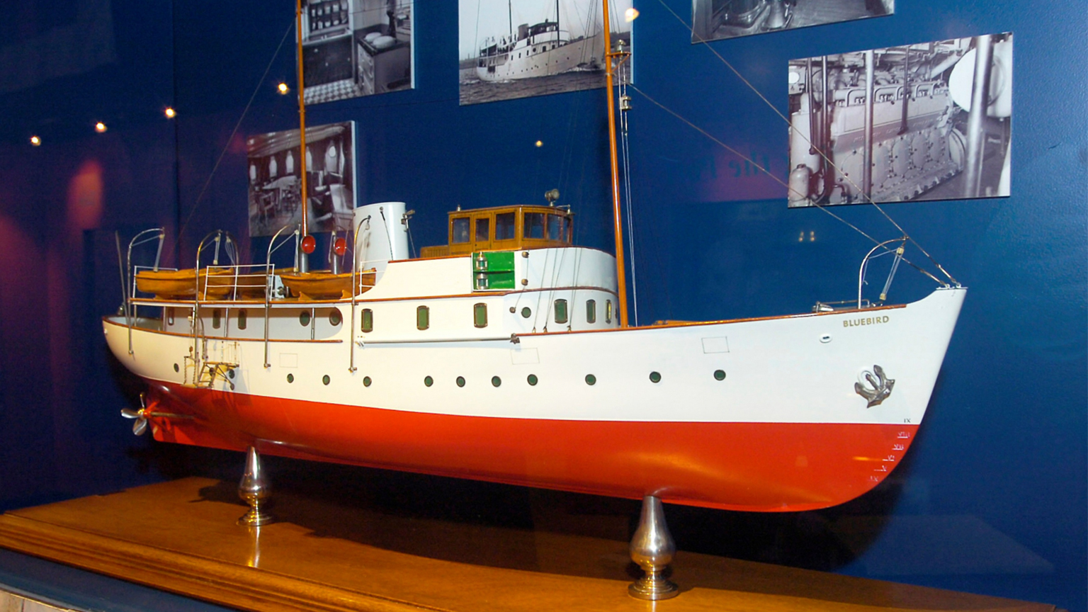 Model of Blue Bird. The actual ship was made in Goole in 1938, and owned by Sir Malcolm Campbell.