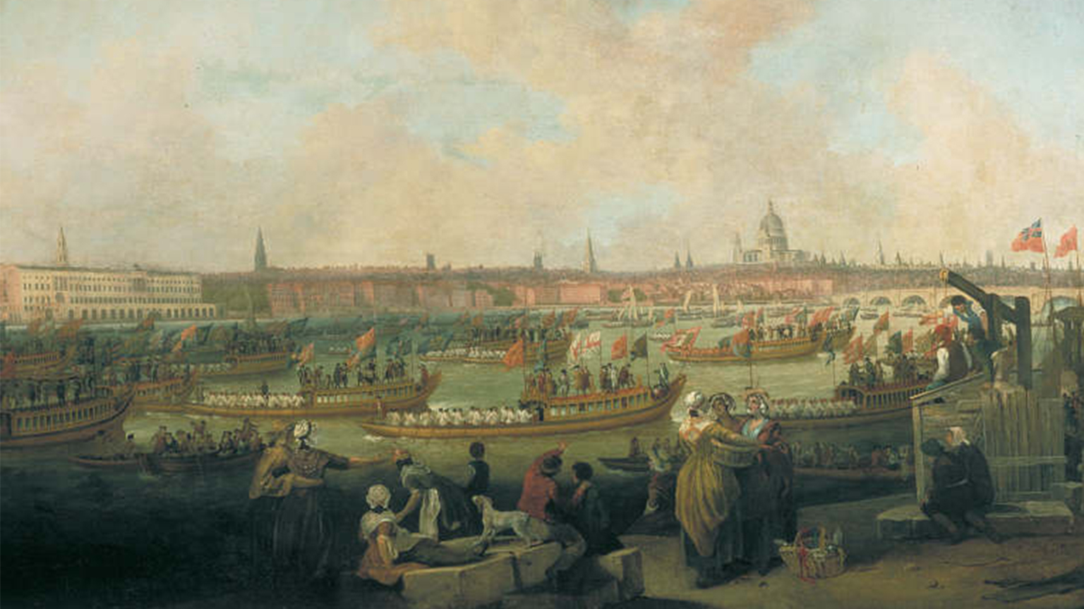 Francis Wheatley and Richard Paton, The Lord Mayor's Procession by Water to Westminster, November 9 789