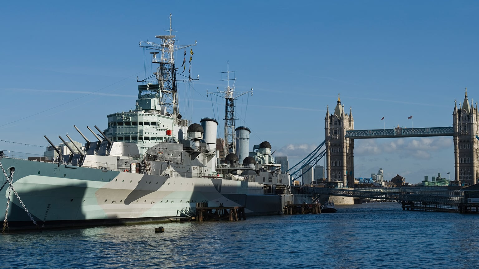 2. HMS Belfast, London. 50% off entry with National Art Pass - External of HMS Belfast on the River Thames