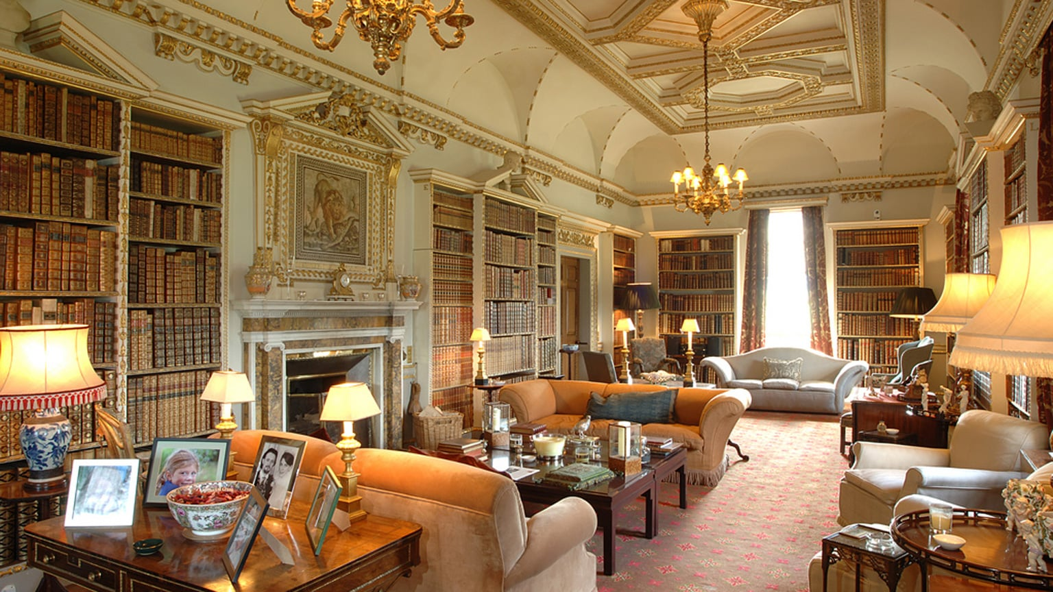 The Long Library was designed by William Kent and is now used by the family for entertaining