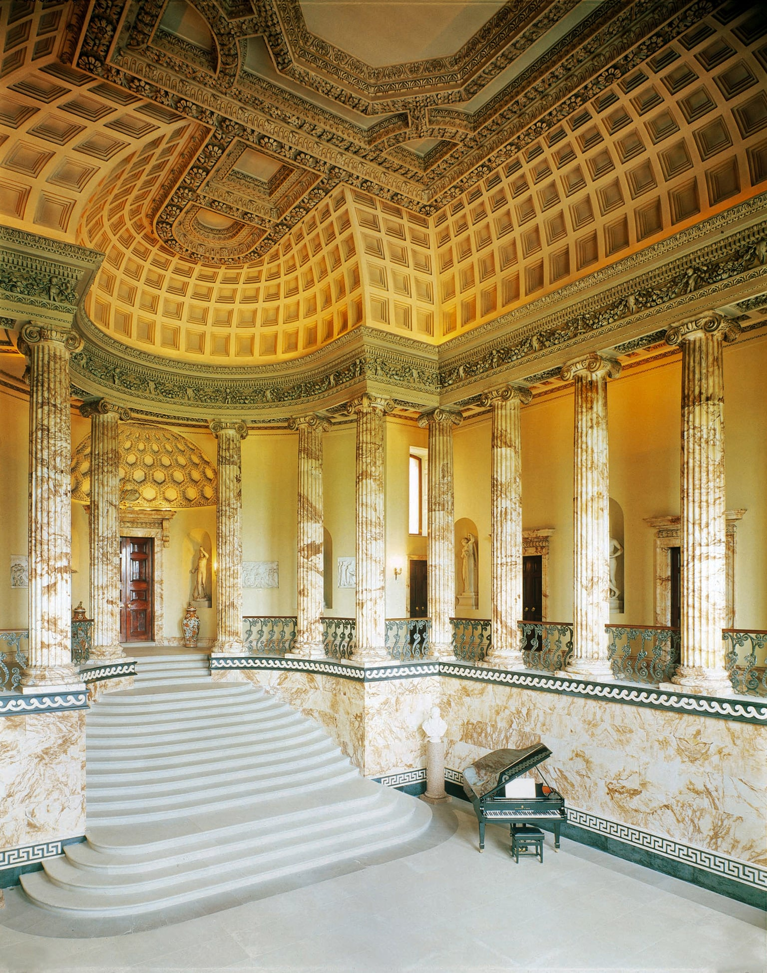 The marble hall is largely constructed of Derbyshire alabaster