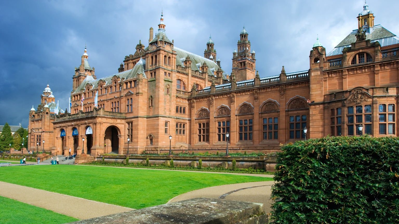 John W. Simpson and J.J. Milner Allen's Spanish Baroque building sits on the bank of the River Kelvin