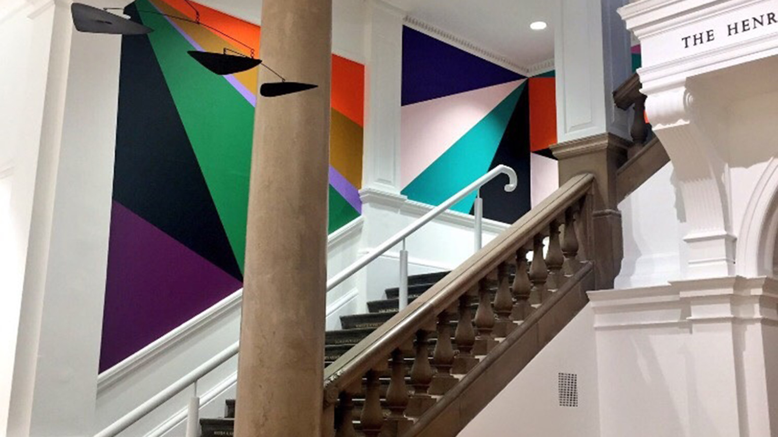 Staircase with Lothar Götz wall painting, Leeds Art Gallery