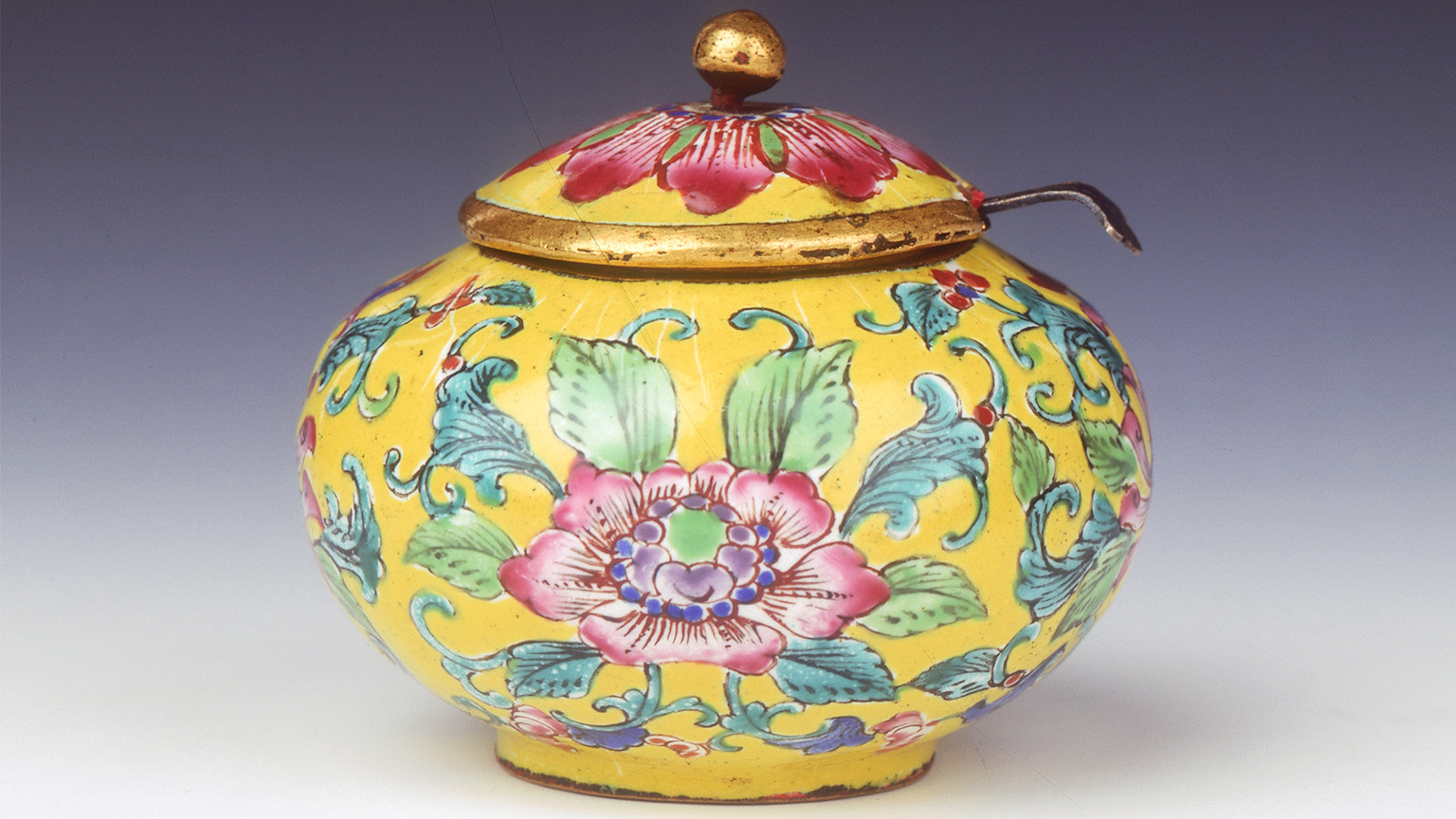 Canton enamel condiment jar and cover made for Vietnamese court. Spoon dated to 1830. Jar dated 1820-40
