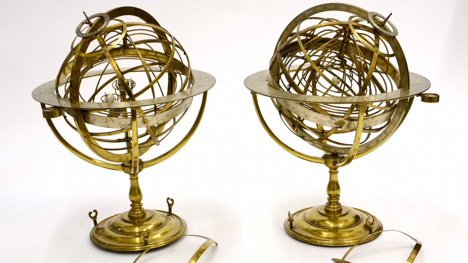Ptolemaic Armillary Sphere and Copernican Armillary Sphere, by John Rowley, London, c. 1700, Invs. 15386 and 22258
