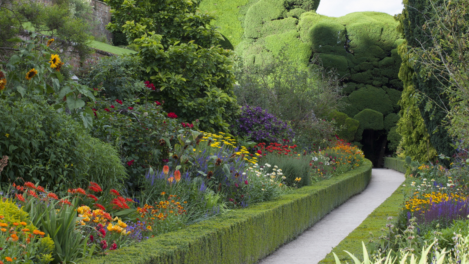 The hot border in the garden at Powis.