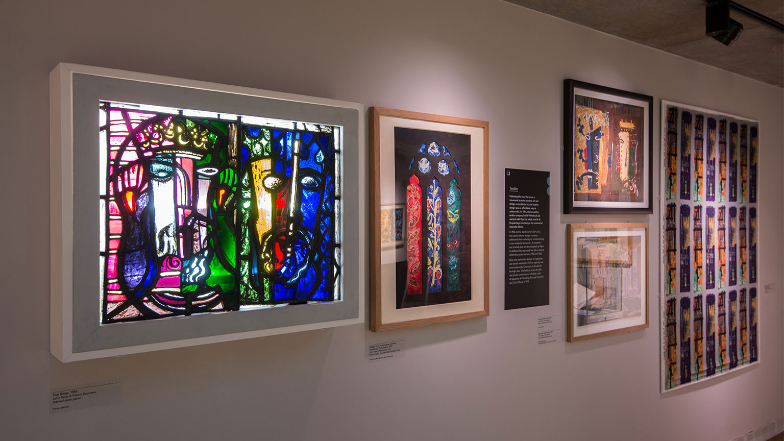 A selection of stained glass and textiles by John Piper