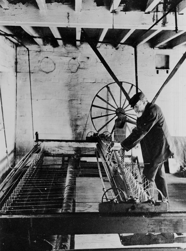 A spinning Jenny being used at Courts Mill, Trowbridge in the 1890s