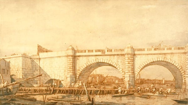 Westminster Bridge, shortly before its completion in 1750