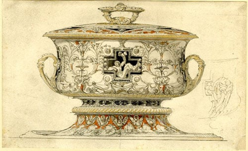 6 designs for Dishes, Silver Cup & Architectural Facade