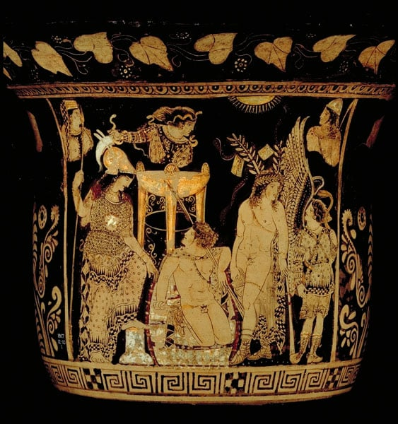 Greek Vase: Orestes pursued by the Furies