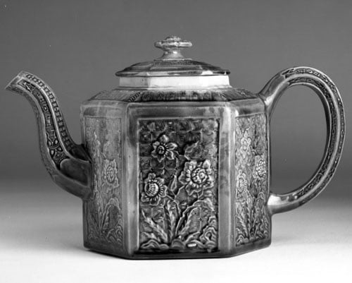 Staffordshire pottery & silver bucket