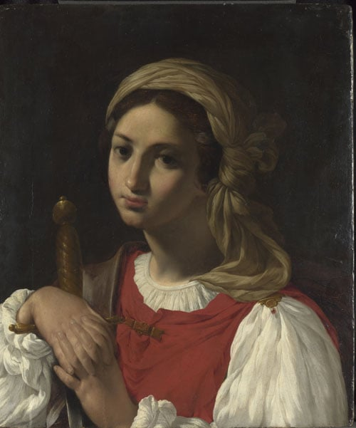 A female figure resting on a sword (St Catherine of Alexandria?)