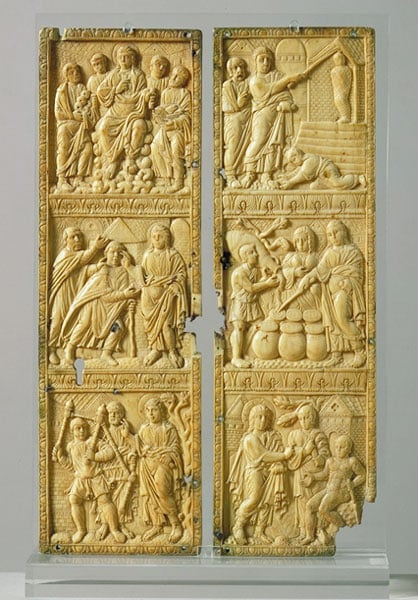 Diptych carved with 6 miracles of Christ