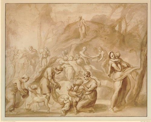 The Landing of Aeneas at Carthage & Moses striking Water from the Rock