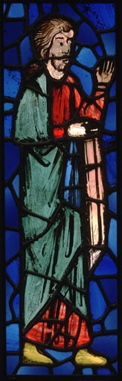 Stained glass panel representing a saint