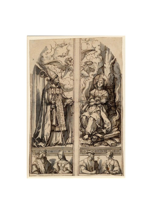 Study with St Ulrich and St Afra for the altarpiece of Augsburg Cathedral