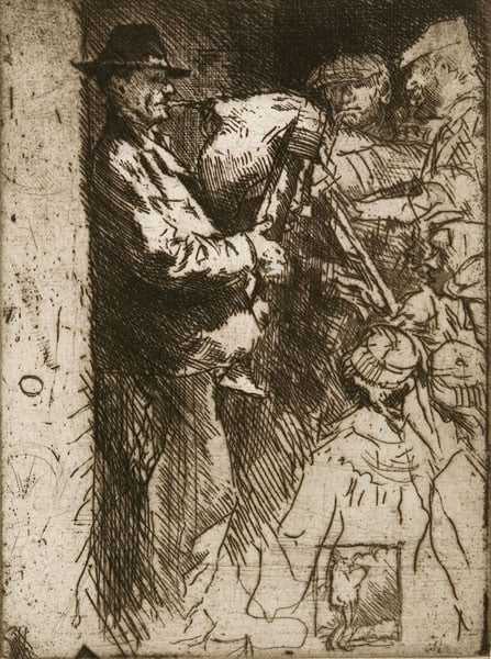 A Street in Tours & Man with a Bagpipe