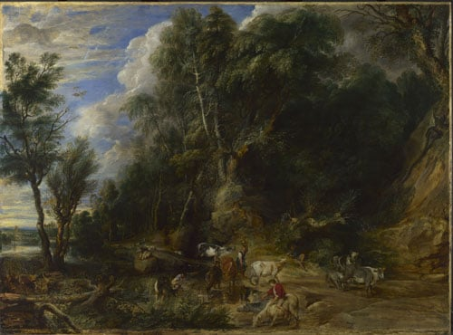 Peasants with cattle by a Stream in a Woody Landscape
