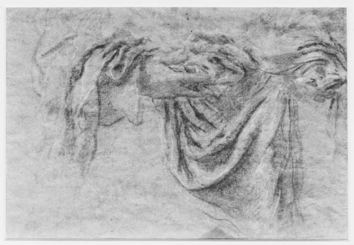 Study of Two Hands holding a Cast of Drapery