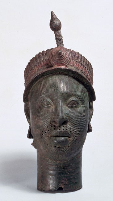 Head with a Beaded Crown and Plume