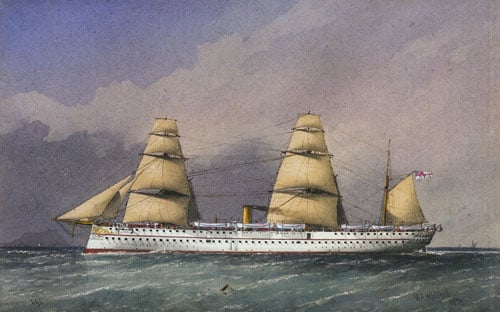 1) HMS Endymion; 2) HMS Jumna; 3) Yachts Fleet Wing and Vanessa; 4) HMS Endymion rounding Cape Horn