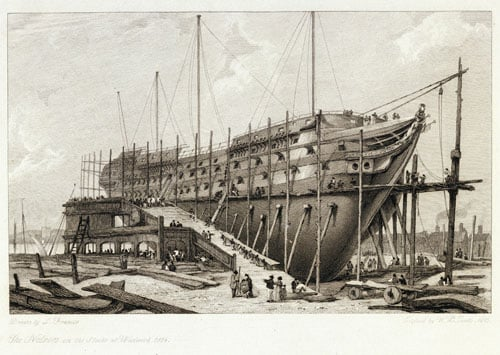 The Nelson on the Stocks, Building at Woolwich in the Year 1814