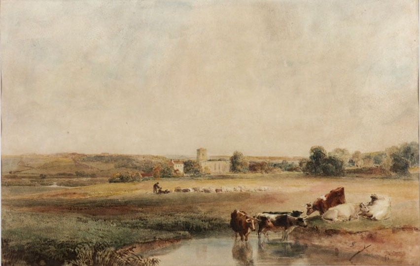 View in Gloucestershire & Landscape with Church and Cattle Watering - Evening