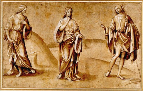 Drawing of three figures