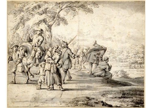 Landscape drawing with figures