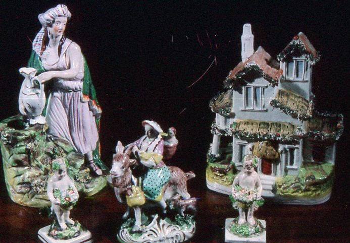 A collection of Staffordshire and Rockingham china