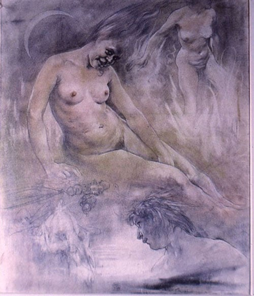Drawing of nude female figure