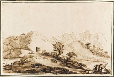 Landscape with river and hills in distance