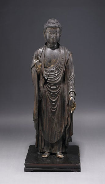 Carved wooden figure of Amida