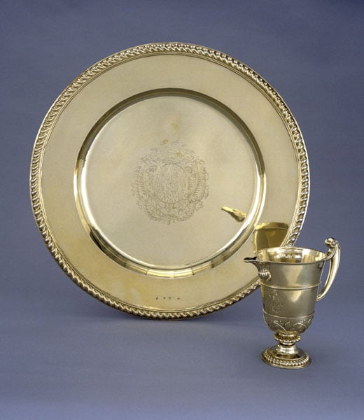 William & Mary silver-gilt sideboard dish and ewer